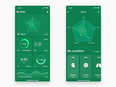 Health app body app brain heart health illustration minimal dribbble best shot ios ui ux app design app