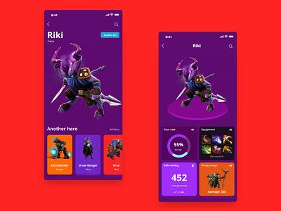 Dota Hero Guide list app color app design ios app apps application digital game uidesign ux design app dota2