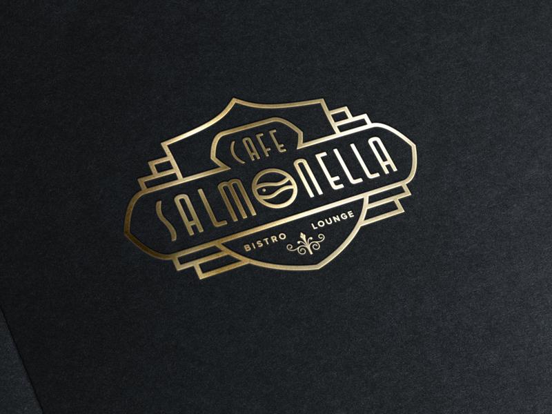 ASOUE: Cafe Salmonella Gold Foil Logo vintage retro art deco restaurant book logo design branding logo