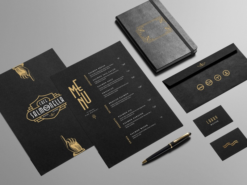 ASOUE: Cafe Salmonella Menu and Stationary book retro vintage typography art deco logo print branding brand identity