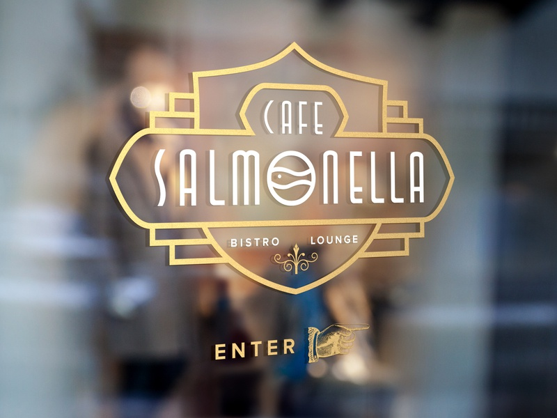 ASOUE: Cafe Salmonella Window Sign retro vintage art deco book branding signage