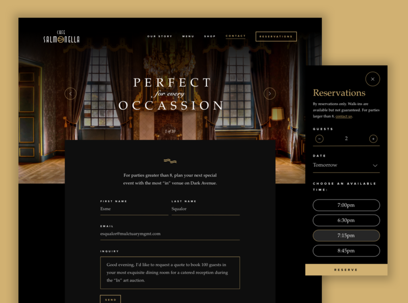 ASOUE: Cafe Salmonella Online Reservations Web Design restaurant book web design branding