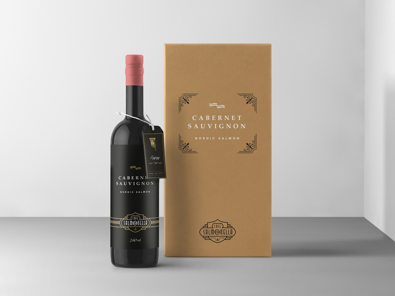 ASOUE: Cafe Salmonella Wine Bottle Design book packaging design branding and identity packaging branding