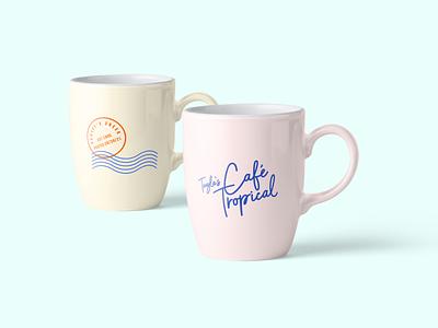 Tropical Mug Designs (Schitt's Creek) cafe restaurant retro pastels mug design mockups packagingdesign brand identity tropical muted colors