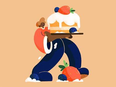 🍰 cake baking character photoshop illustration design