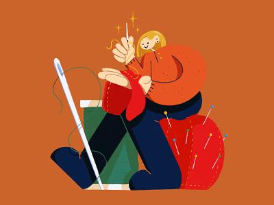 🧵 quarentine sewing machine character photoshop illustration design
