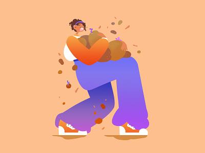 🥔 gal girl worm potato character photoshop illustration design