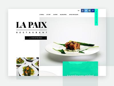 Starred restaurant website vector typography ui green contact icon redesign css3 website design