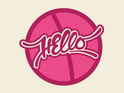 Hello Dribbble! design debut first shot script typography type custom branding lettering hand lettering logo hello