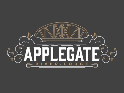 Applegate River Lodge  line art bridge wine music identity logo design branding