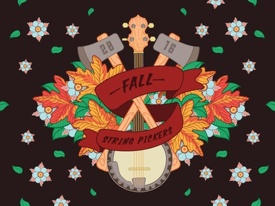 Fall and Folk  music design drawing axe banjo fall illustration