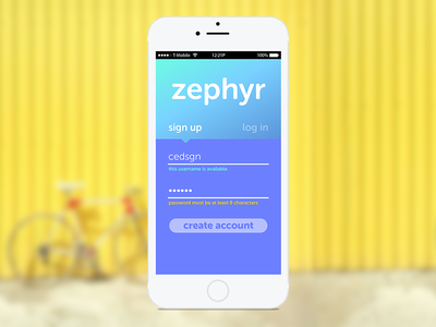 zephyr sign up signup 001 dailyui
