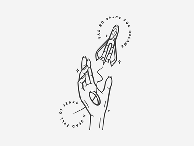 D R E A M S black and white icon illustration adobe illustrator illustrator adobe type iconography spaceship rocket space line work