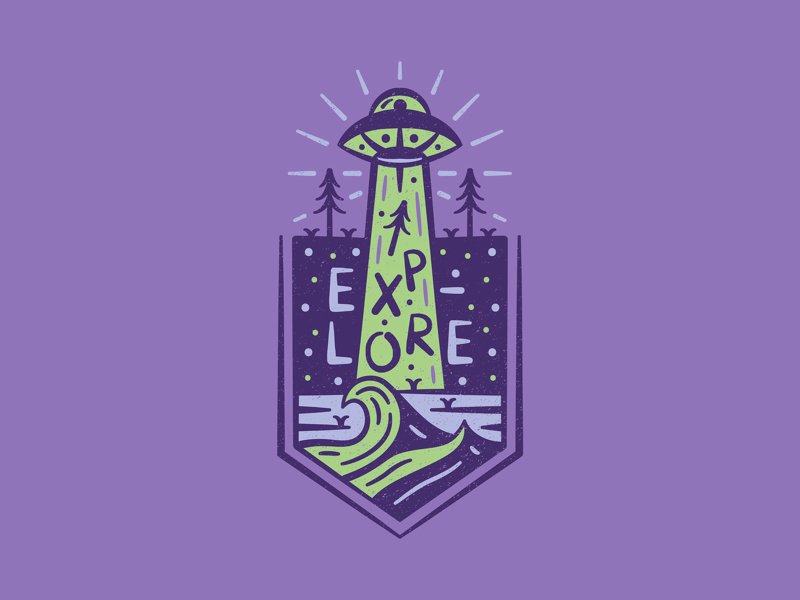 Explore More type adobe illustrator iconography icon badge trees ocean waves spaceship ufo alien
