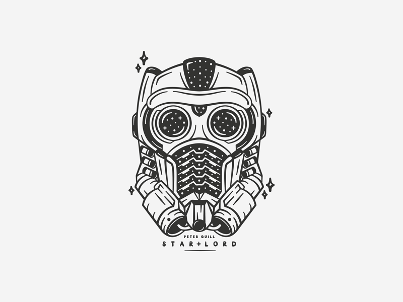 Star Lord illustrative design icon adobe illustrator illustration space stars peter quill guardians of the galaxy marvel star lord