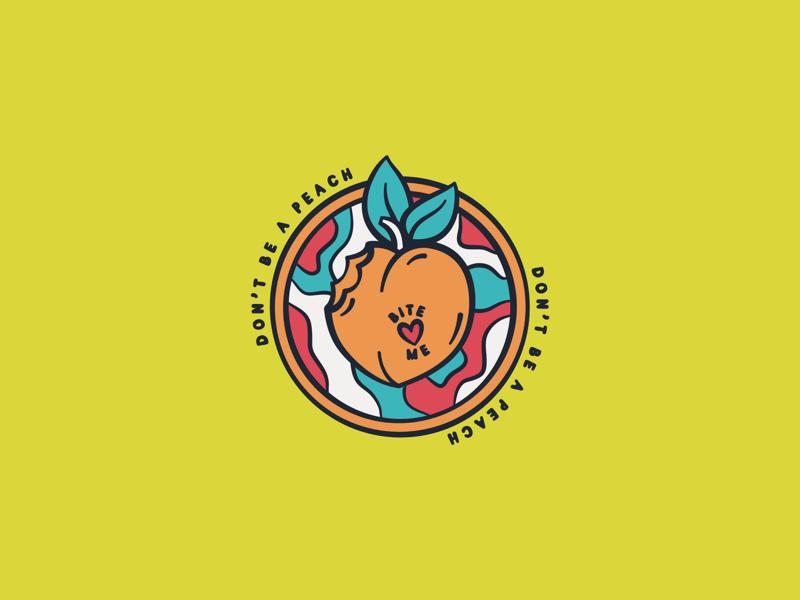 Bite Me iconography funky bite me retro adobe illustrator illustrator adobe illustration sticker icon fruit peach