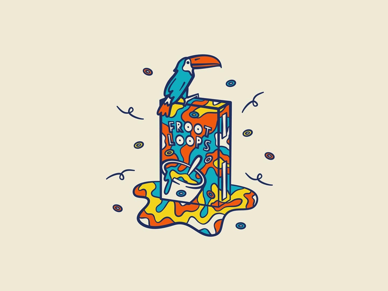 Froot Loops adobe illustrator illustration illustrator adobe colour colourful iconography icon toucan kelloggs froot loops packaging