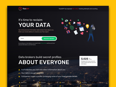 Data Broker awareness landing page marketing website design landing page