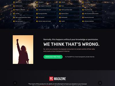 Data Broker awareness landing page marketing website design landing page