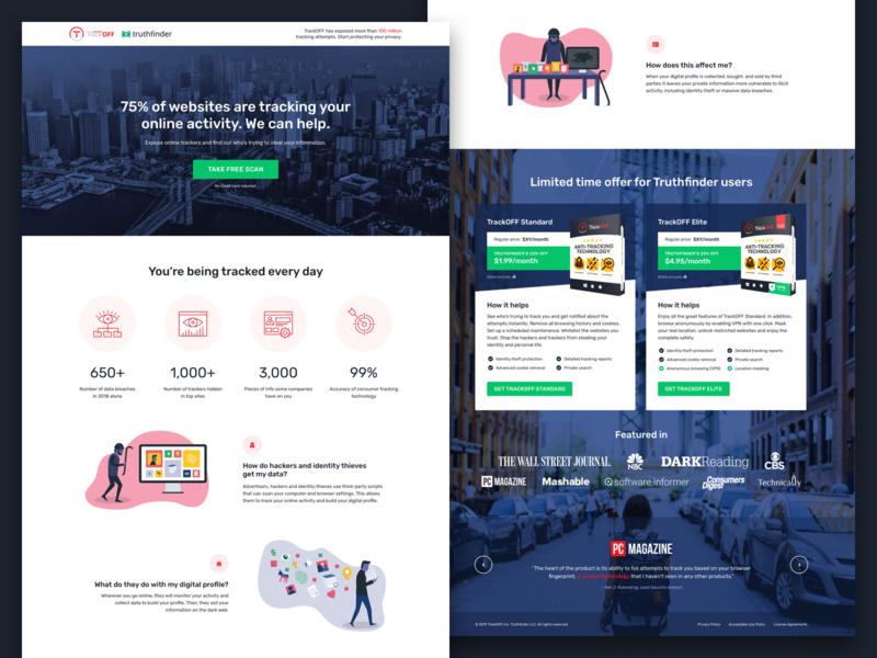 TrackOFF / Truthfinder Landing Page website design marketing landing page