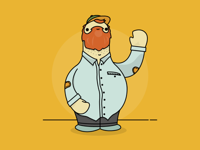 Delivery Man character character design ginger beard wave man illustration sophie scott-lewis tiny grey delivery-man