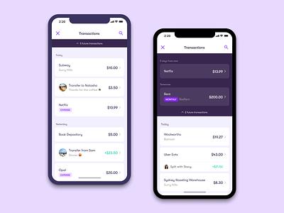 Wildcard - Transactions Redesign dark mode component merchant transaction list mobile clean app ui minimal finance
