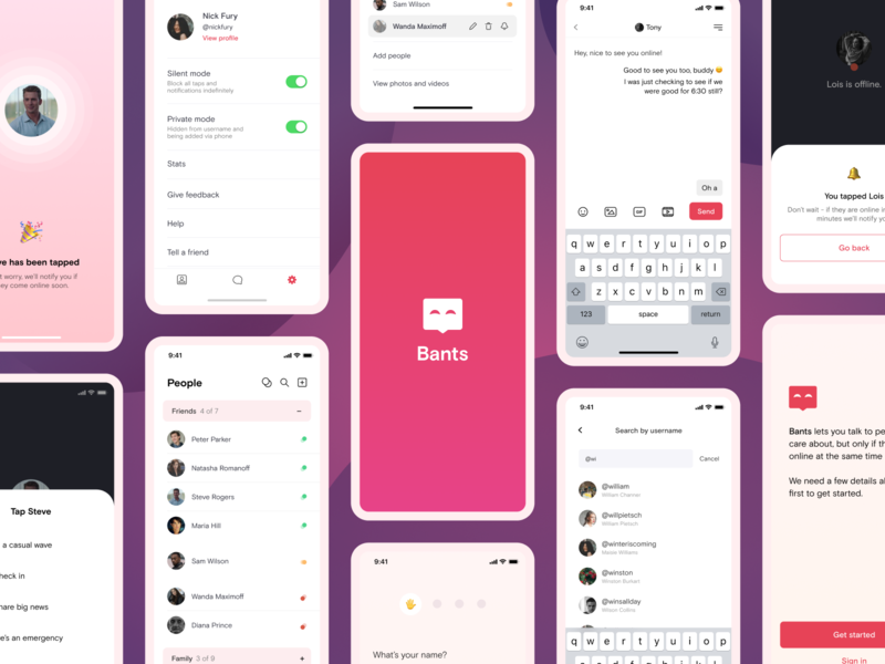Bants - Chat App Concept messaging purple red pink logo chat app chat branding clean mobile minimal ui app