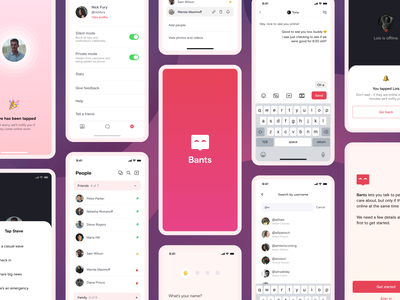 Bants - Chat App Concept ux ios product messenger message app message messaging purple red pink logo chat app chat branding clean mobile minimal ui app