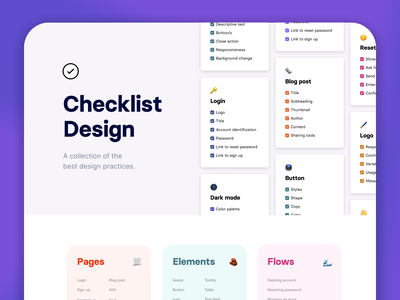 Checklist Design - Redesign! clean desktop landing page landing homepage website elements pages two-tone two tone purple learning minimal ui checklist design checklist