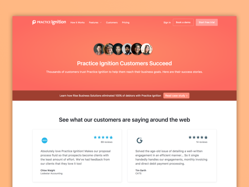Customers Page testimonials reviews gradient website landing page customers