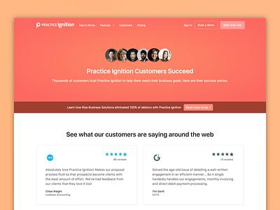 Customers Page design desktop clean finance testimonials reviews gradient website landing page customers