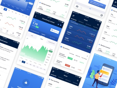 Stock Trading App interface ui minimal blue graphs charts mobile app ios trading stock