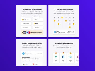 Laddr - Feature Blocks job development hiring graphics interface features website