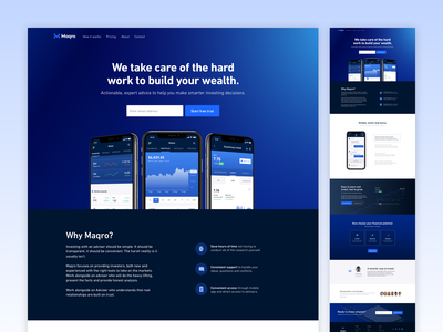Maqro Website finance mobile app invest trading stock fintech gradient blue landing page homepage website