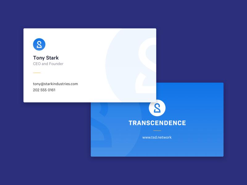 Transcendence - Business Cards blockchain branding business card vector finance blue logo brand
