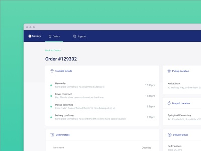 Devery - Desktop App tracking delivery blockchain component app green blue desktop ui