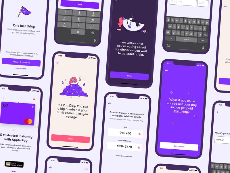 Wildcard Onboarding Redesign money iphone design clean illustration finance purple app ui onboarding mobile