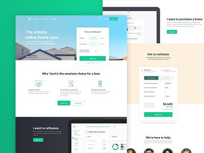 Yard Home Loans - Website homepage illustration clean minimal desktop website product green home loan fintech finance landing page ui