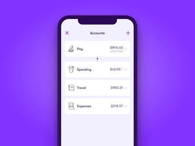 Wildcard - Accounts Redesign purple interface ui money payments finance minimal clean mobile app
