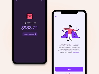 Wildcard - Savings Defender Feature purple app illustration minimal clean mobile finance ui defender savings dark mode money