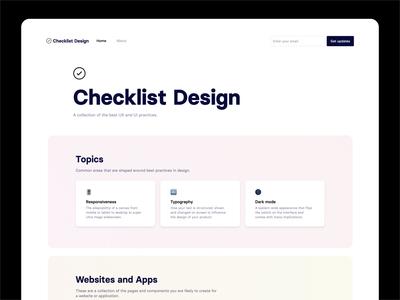 Checklist Design 2.0 Homepage design tool desktop clean ui pastel minimal ui simple clean checklist homepage