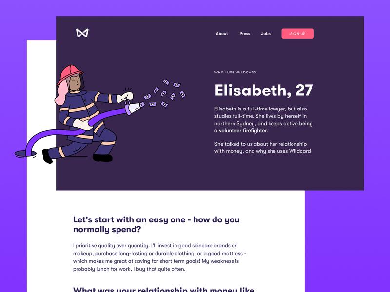 User Stories - Why I Use Wildcard testimonial quote minimal landing page illustration desktop finance website design purple stories case study website