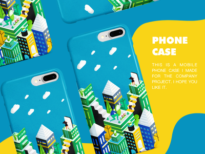 2.5D手机壳或帆布袋 建筑 轴测图 蓝色 活版印刷 插图 卷筒纸 ux 商标 设计 2.5d 图标 ui
