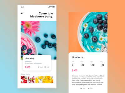 Daily design 1/100 food fruit food ui ux ux challenge ux 设计 应用 图标 蓝色 ui
