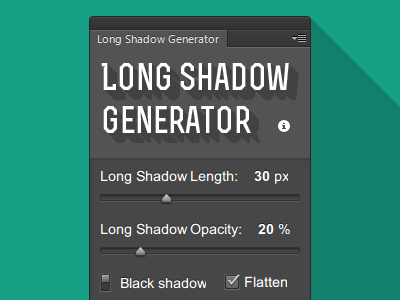 Long Shadow Generator for Photoshop long shadow generator photoshop plugin extension panel flat ps