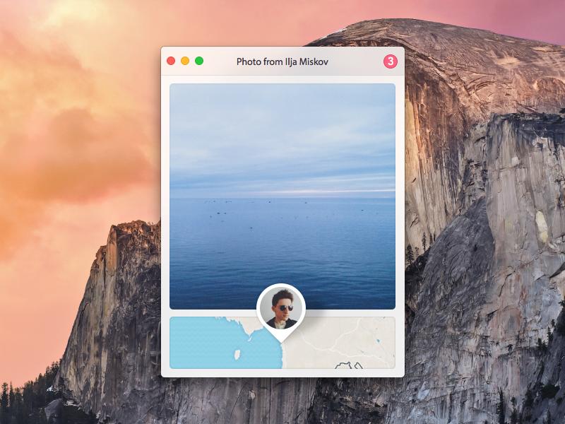 Photo With Location yosemite mac ui map photo widget app avatar apple location pins os x