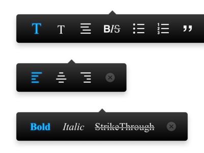 Editor Format Bar quote list bold italic bar headline font align paragraph style format editor