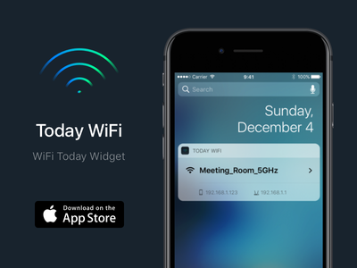 Today WiFi 2.0 ip wifi widget today ssid signal network iphone ios extension apple app