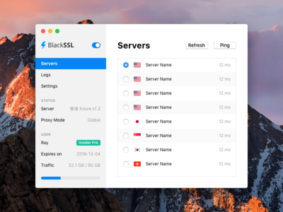 BlackSSL for Mac - Servers server proxy shadowsocks vpn osx mac macos app menubar blackssl