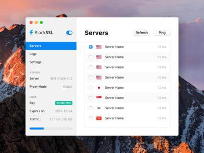 BlackSSL for Mac - Servers server proxy shadowsocks vpn osx mac macos app menubar blackssl